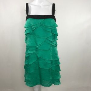 BCBGMaxAzria Emerald Tiered Ruffled Dress Size 02